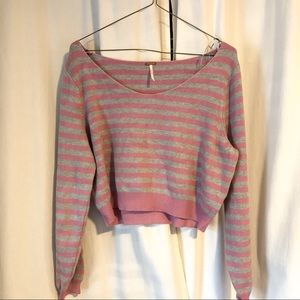 Free People Pink Gray Cropped Striped Sweater sz M